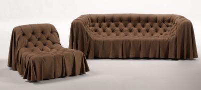 Диван в комплекте с подушками и кресло BOHÉMIEN